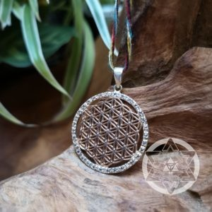Flower of Life 14K Rose Gold-plated sterling silver pendant with clear Topaz Gems for Heart Coherence & Inter-Connectedness