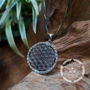 Flower of Life sterling silver pendant with clear Topaz Gems for Truth, Clarity & Inter-Connectedness