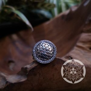 Flower of Life Clear Topaz Ring