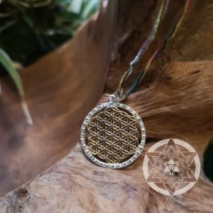 Flower of Life 14K Gold-plated sterling silver pendant with clear Topaz Gems for Profound Healing & Inter-Connectedness