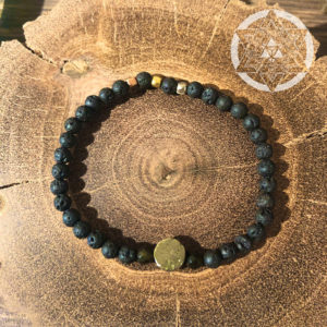 Lava Stone with Pyrite Disc Crystal Bracelet for Spiritual Growth & Abundance