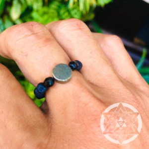 Lava Stone with Pyrite Disc Crystal Ring for Spiritual Growth & Abundance