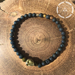 Lava Stone with Pyrite Skull Crystal Bracelet for Grounded Spirituality & Personal Power