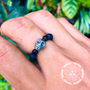 Lava Stone with Pyrite Skull Crystal Ring for Grounded Spirituality & Personal Power